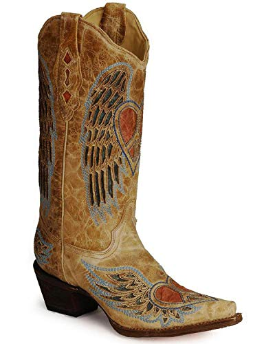CORRAL Women's Heart Angel Wing Cowgirl Boot Snip Toe Antique Saddle 6 M US