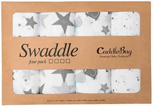 ✨ Mantas de Muselina Unisex CuddleBug | Paquete de 4 | Sabanas de Envolver, Paños de Algodon 100% Muselinas Infantil | Tamaño Grande 120x120cm | Multiuso Mantas Suaves de Lactancia - Estrellas (Starry Nights)