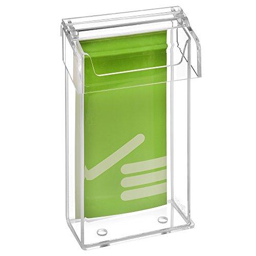 DIN Lang Prospektbox/Prospekthalter/Flyerhalter im Hochformat, wetterfest, für Außen, mit Deckel, aus glasklarem Acrylglas - Zeigis®