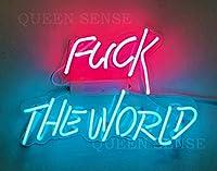 Queen Sense 14インチ Fvck The World ネオンサイン ライト 装飾 アクリルパネル ハンドメイド ビールバー パブ 男性 洞窟ランプ UT162