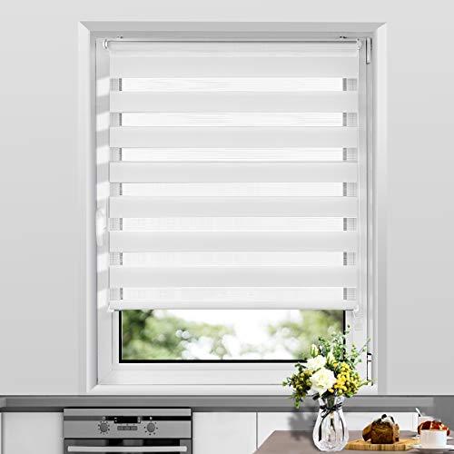 Allesin Doppelrollo Duo Rollo Klemmfix ohne Bohren, Rollo für Fenster und Tür, Seitenzugrollo Easyfix, lichtdurchlässig und verdunkelnd, sichtschutz und Sonnenschutz, 60 x 120 cm Weiß