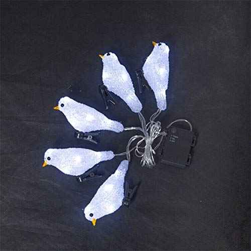 Haucy Cadena de luces LED de 2 m, para exteriores, con diseño de pájaros, para ventana, para Navidad, jardín, fiesta, boda, Navidad (blanco)