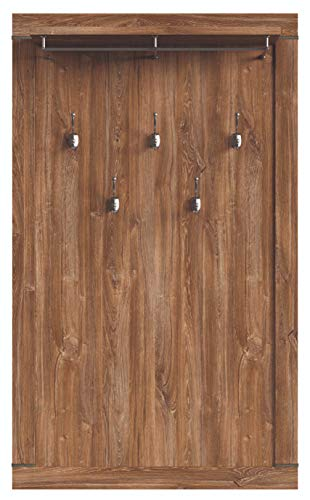 Boardd - Perchero de pared de madera para entrada, pasillo, caballero con 5 ganchos y estante, decoración de roble de agitación, 101 x 168 x 24 cm