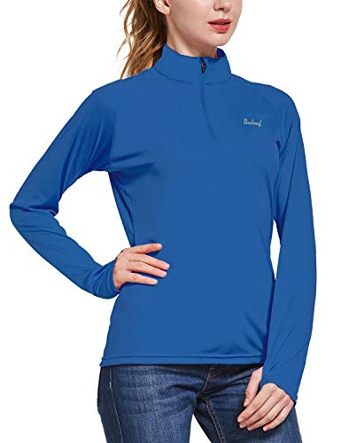 BALEAF Women's UPF 50+ Sun Protection T-Shirt Long Sleeve Half-Zip Thumb Hole Outdoor Performance Workout Tops Ocean Blue Size XXL