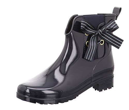 TOM TAILOR für Frauen Schuhe Kurze Gummistiefel mit Schleife Navy, 39