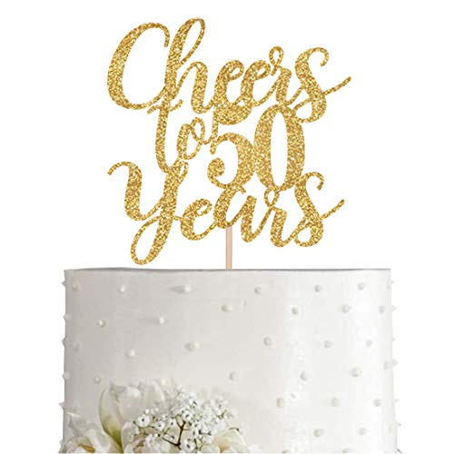 Gold Glitter Cheers to 50 years cake topper, Gold Happy 50th Birthday Cake Topper, Birthday Party Decorations, Supplies