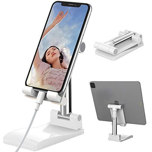 Senbos Handy Ständer mit Spiegel, Höhenverstellbarer und Winkelkippbarer Universal Faltbarer Tablette Handyhalterung Kompatibel mit iPhone 12 8 Plus, Huawei, Samsung Handy und Tablet von 4/12,9 Zoll