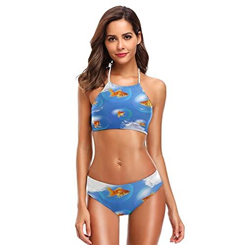 Mnsruu Goldfish Bubble Blue Sky Cloud Damen Neckholder Bikini Bademode High Waist Gepolstert 2 Stück Gr. XL/XXL, mehrfarbig