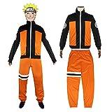 TTIK Naruto Anime Cosplay Disfraz Uzumaki Naruto Hombres Naranja Abrigo + Pantalones Conjunto de 2 Piezas Ropa de Fiesta de Halloween Cosplay