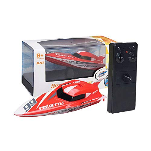 Slreeo Children's Small 2.4GHz Remote Control Boat Racing, Indoor and Outdoor Water Toys, Double Propellers, Powerful Motors, Water Cooling, Simple Operation, Best (Color : Red)