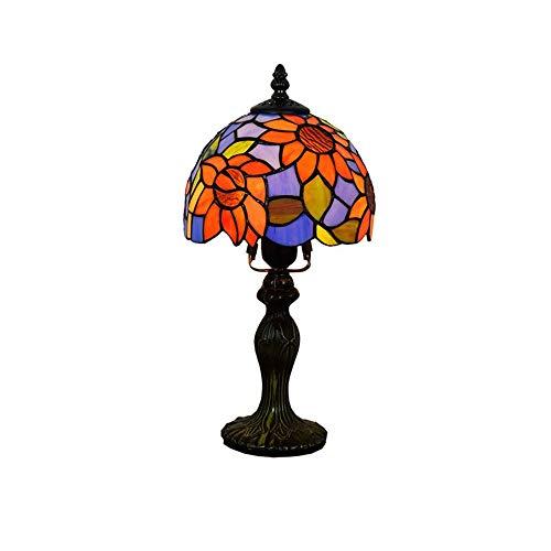 WMING Lámpara de Mesa de Estilo Tiffany Lámpara de cabecera con vitral...