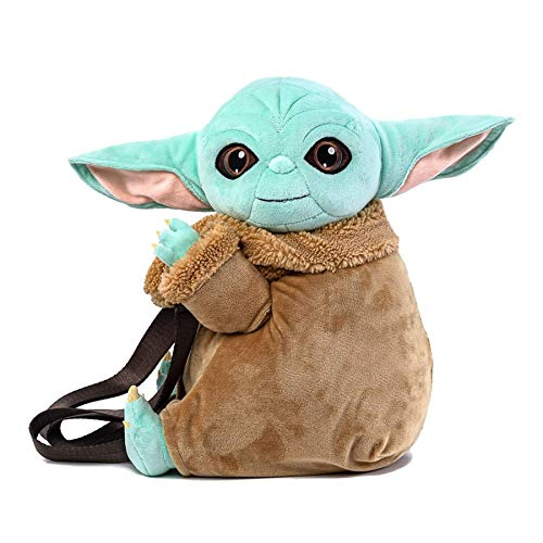 Disney Loungefly Star Wars The Mandalorian Child Baby Yoda Plush Shoulder Bag with Adjustable Straps and Hidden Zipper Compartment Pockets