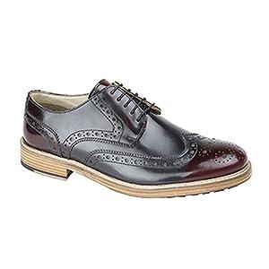Roamers - Zapatos Gibson Cubiertos con Acentos y Suela de Resina con Cinco Ojales para Hombre (46 EU/Oxblood)