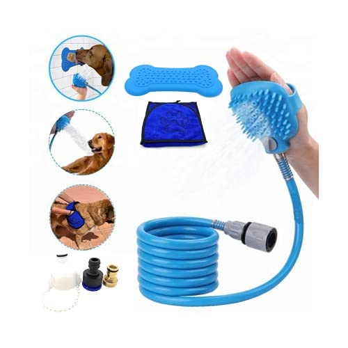 MOCHI COOL Kit Ducha para Perros Gatos 3 en 1 Manguera Cepillo Jardin Piscina Exterior y Interior Accesorios de Mascotas - Toalla para Perro Absorbente de baño - Almohadilla lamer Comida