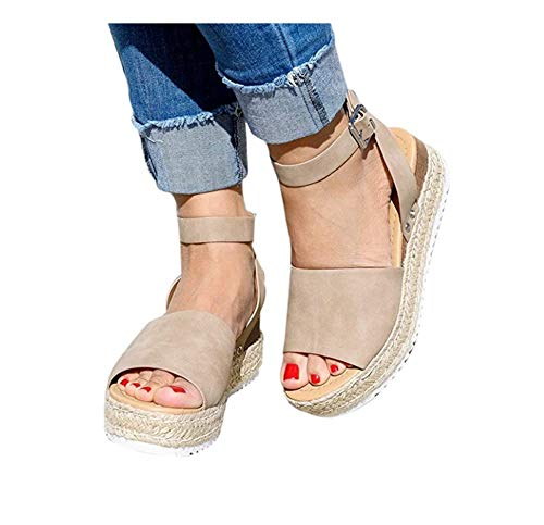 Wxyfl Sandalias Cuña Mujer Verano Plataformas Cáñamo Fondo Grueso Sandalias Peep Toe Alpargatas Playa Tacón 2 Inches Zapatos De Vestir,Caqui,35