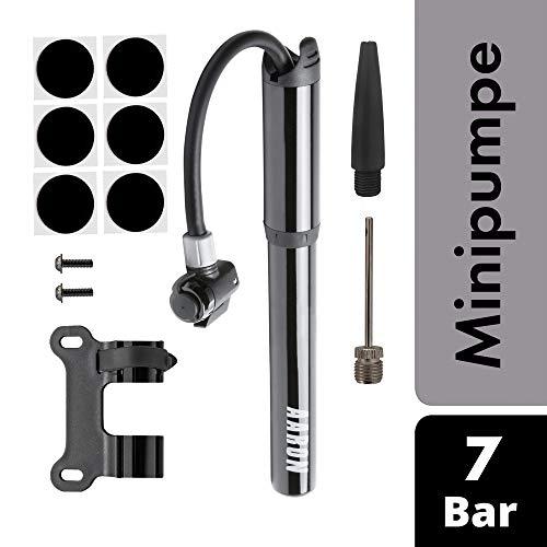 AARON Pocket One Mini Pumpe Fahrradpumpe für alle Ventile | Kompakte Luftpumpe | Kleine, leichte und tragbare hochdruck Handpumpe 100 psi / 7 bar Rahmenpumpe | Rad Pumpe Schwarz