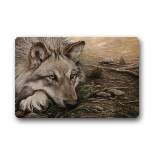 Wolf Zeichnen Custom Outdoor Innen Fußmatte Personalisiertes Design Machine-wahable Neopren Gummi Fußmatte 59,9x 39,9cm
