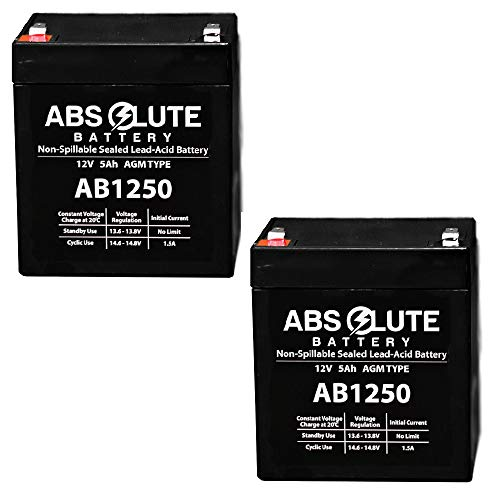 2PK AB1250 12V 5AH Sealed Lead Acid (SLA) Battery for Razor E100 E125 E150 E175
