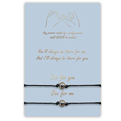 2-Piece Pinky Promise Bracelets Anklets for Best Friends Couple Family Women Mens Teen Girls (Round)