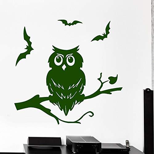 ASFGA Calcomanías de Pared de búho murciélago pájaro Bosque Naturaleza Vinilo Fresco Pegatinas de Ventana Dormitorio Sala de Estar guardería decoración de Interiores Animal Mural habitación de