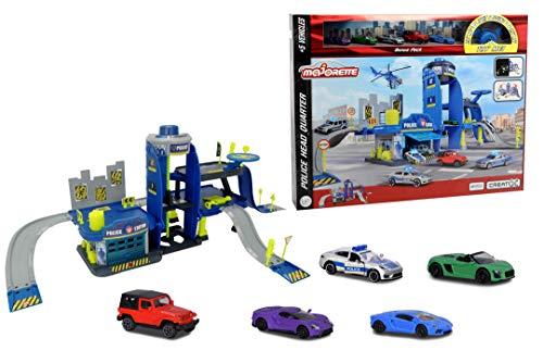 Majorette Creatix Polizeistation Spielset, 3 Etagen, Aufzug, Rampen, Rutschen, Landeplatz, Elemente leuchten im Dunkeln, inkl. 5 Spielzeugautos, erweiterbar, LxBxH 103 x 33 x 43,5 cm, ab 5 Jahren