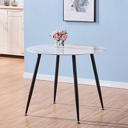 GOLDFAN Glass Round Dining Table Modern Living Room Kitchen Dining Tables with Black Metal Legs for Dining Room Office Lounge