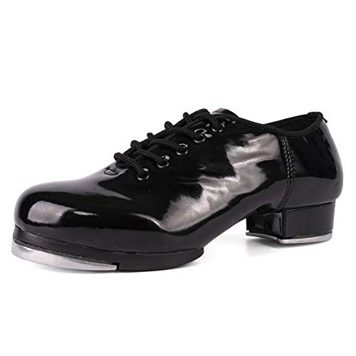 VCIXXVCE Zapatos de Claqué para Hombre Zapatos de Baile de Claqué con Suela Dividida con Cordones Jazz,Negro,45 EU