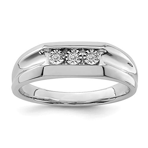 925 Sterling Silver Diamond Mens Band Ring Size 9.00 Man Fine Jewellery For Dad Mens Gifts For Him