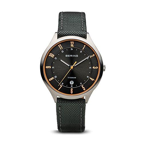 BERING Herren Analog Quarz Uhr mit Stoff Armband 11739-879