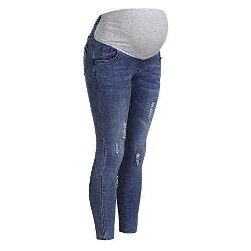 STRIR Mujeres Embarazadas Nuevo Otoño Invierno Pantalones elásticos Suaves Leggings Jeans, Circunferencia de Cintura Ajustable Pantalones elásticos Suaves Jeans (M, Azul-Claro#0123)
