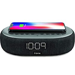 iHome TIMEBOOST Qi-Certified Wireless Charging Alarm Clock with Bluetooth Speaker, Auto-Dimming, Snooze, Battery Backup and USB Charging (Model iBTW41BG)