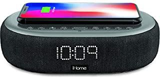 iHome TIMEBOOST Qi-Certified Wireless Charging Alarm Clock with Bluetooth Speaker, Auto-Dimming, Snooze, Battery Backup an...