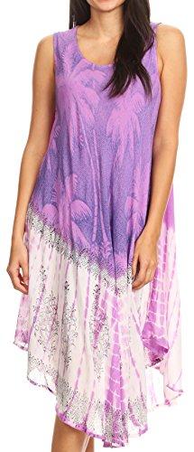 Sakkas 17156 - Farzana Women Sleeveless Summer Caftan Midi Dress Tie-dye Light and Fresh - Purple - OS