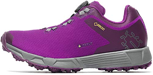 Icebug Women's DTS3 BUGrip Gore-TEX Traction Studded Running Shoe, Dk Magenta/Carbon, 9