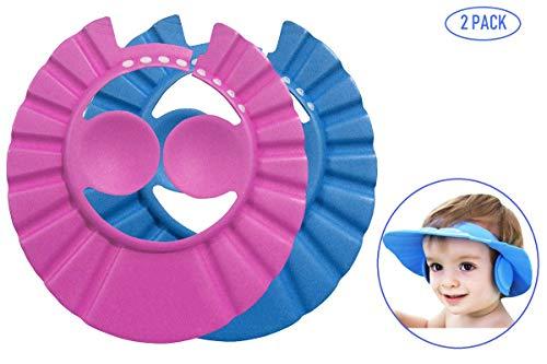 Apanphy® 2 PCS Baby Shower Caps Hüte, Kind Einstellbare Badekappe Shampoo Kappe baby Bade Kappe Hut Duschhaube Kinder Baby Protect Caps Hüte für Babys und Kinder (Blau/Rosa)