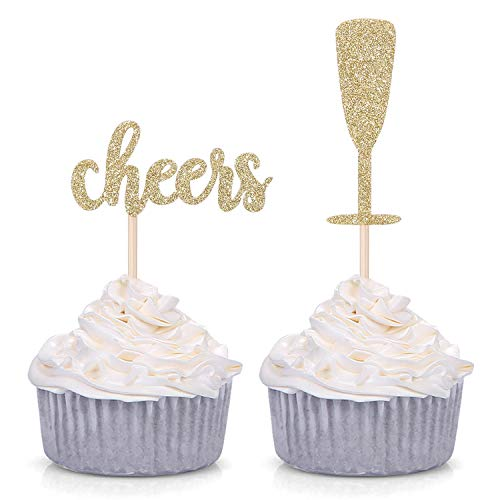 Pack of 24 Gold Glitter Cheers and Champagne Glasses Cupcake Toppers for Baby Shower Wedding Engagement Celerating Party Decorations