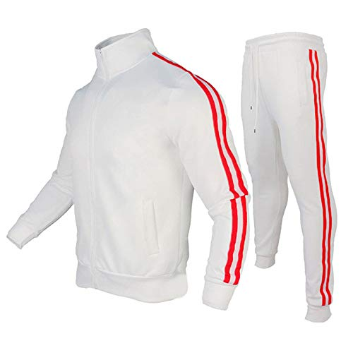 Geagodelia Chándal para hombre completo de 2 piezas, para fitness, invierno, sudadera de manga larga con cremallera + pantalones para correr, gimnasio Color blanco. M
