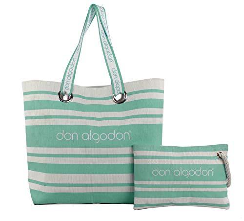 Don Algodon Beach Edition, Bolsa de Tela y de Playa para Mujer, Verde (Menta), 17x49x38 cm (W x H x L)
