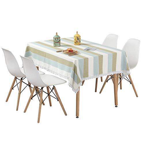 Branfan Katoen en linnen tafelkleed gestreepte salontafel doek strak minimalistische eettafel doek 80x80cm