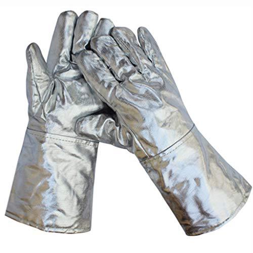 Handschoenen Handschoenen hoge temperatuur resistente aluminiumfolie handschoenen hoge temperatuur smelten vijf vingers aluminiumfolie handschoenen isolatie straling warmte uitgebreide industriële slijtage handschoenen