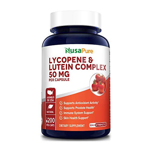 Lycopene & Lutein Complex 50MG 200 Veggie Capsules (Non-GMO & Gluten Free) Antioxidant Natural Tomato Great for Prostate Health, Immune System Support, Heart Health, Eyesight Support