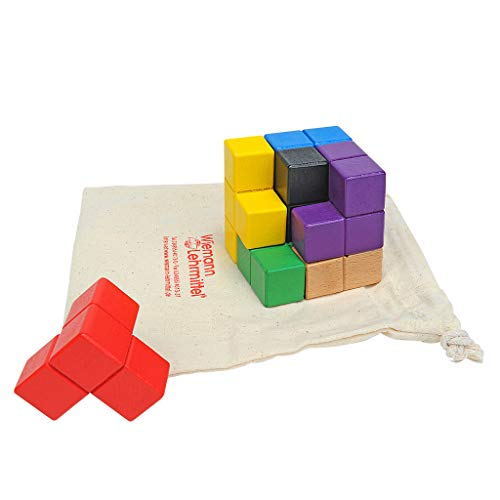 Wiemann Lehrmittel Soma-Würfel, buntes 3D-Würfel-Puzzle aus Holz, Knobelspiel
