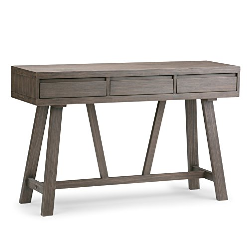 Simpli Home Dylan Solid Wood 48 inch Wide Modern Industrial Hallway Console Table in Driftwood