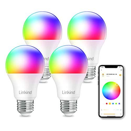 Linkind Smart WiFi Farbwechsel Lampen, A60 E27 Wlan RGBW LED-Birnen, dimmbare mehrfarbige Leuchten, kompatibel mit Alexa und Google Home, kein Hub erforderlich, 9W (60W-Äquivalent) Birne, 4er-Pack