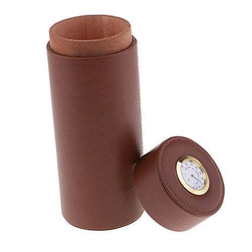 sharprepublic Caja De Puros Tubo De Humidor De Cuero De Viaje con Humidificador, Caja De Cigarros Forrada De Madera De Cedro Ligera Y Portátil - Grandes Regalos - Marrón, Individual