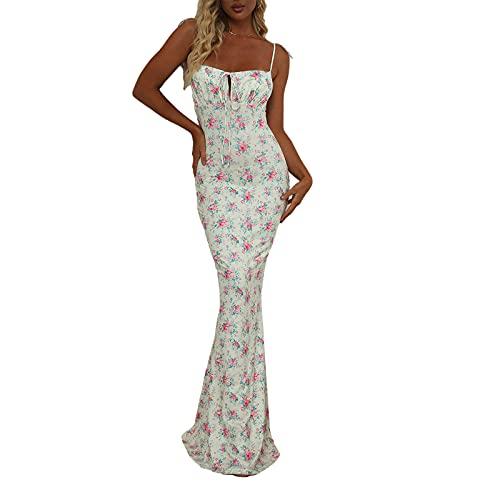 GuliriFe Women's Sexy Floral Boho Print Bodycon Dress Spaghetti Strap Valance Mermaid Hem Cocktail Party Midi Dress Mini Buttocks Dresses - - Small