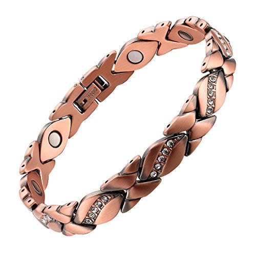 MagEnergy Pulsera de cristal para mujer, pulsera de cobre para alivio del dolor de artritis, 7,8...