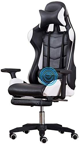 DBL Reclining Ergonomic Gaming Desk Chair ,with Footrest High-Back PU Leather Racing Office Chair Built-in Latex Cushion with Headrest and Massage Lumbar Pillow Desk Chairs (Color : Black White)