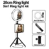 Anillo De Luz LED Selfie con Trípode, Regulable 3200-5500K, Utilizado para Maquillaje De Teléfonos Inteligentes En Vivo Youtube En Vivo,20cm,Package One