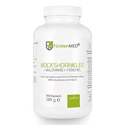 FürstenMED® Bockshornklee Kapseln + Wild Yams (Yamswurzel) mit Fenchel, MSM, Kieselerde, Biotin - Vegan & Ohne Zusätze